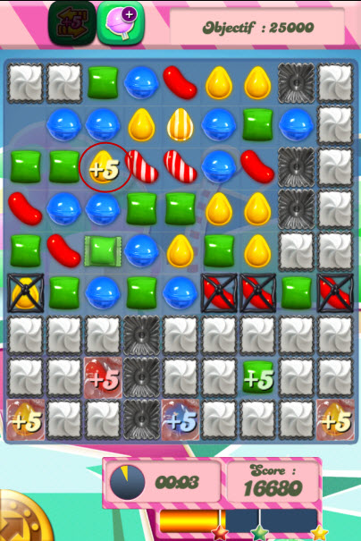 candy crush saga niveau 252 - bouton +5