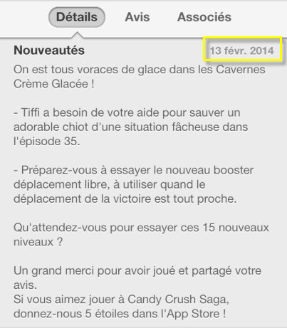 Mise à jour Candy Crush Saga