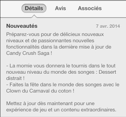 Mise à jour Candy Crush du 7 avril 2014