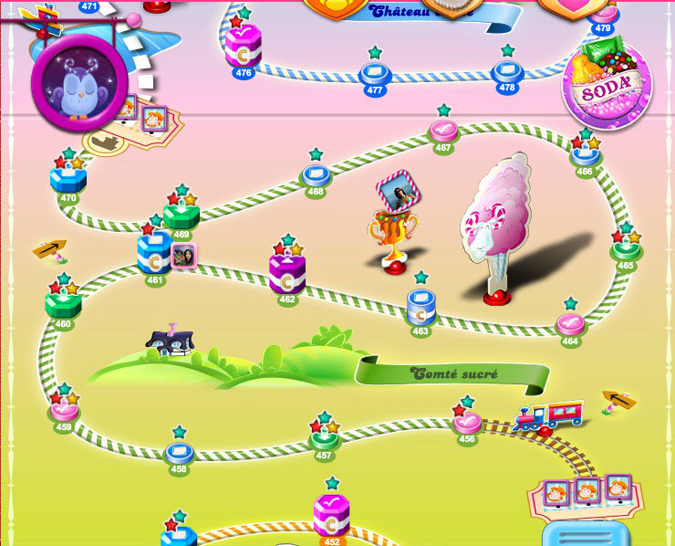 Candy Crush - Comté sucré - niveaux 456 à 470