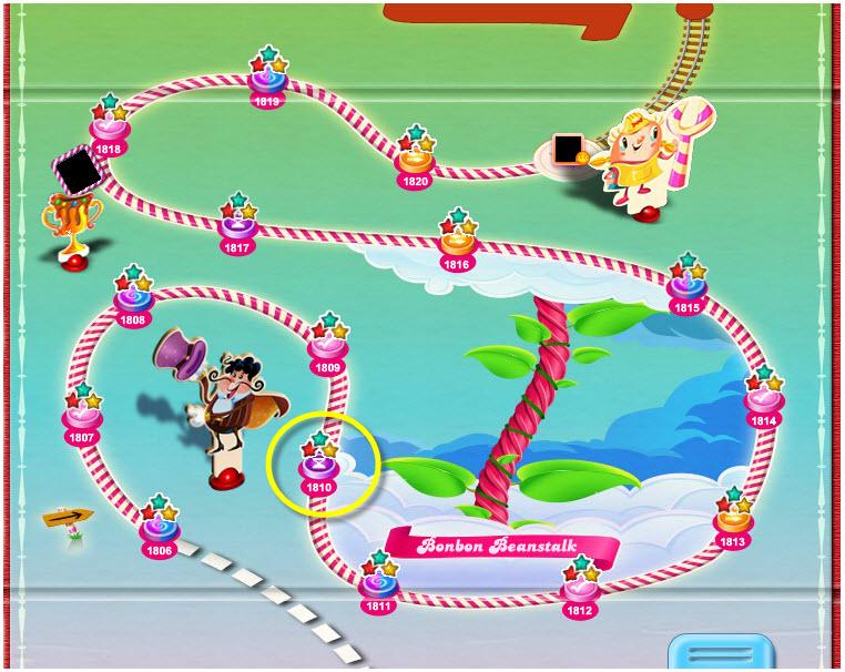 Candy Crush niveau 1810 dans le monde Haut Haricot