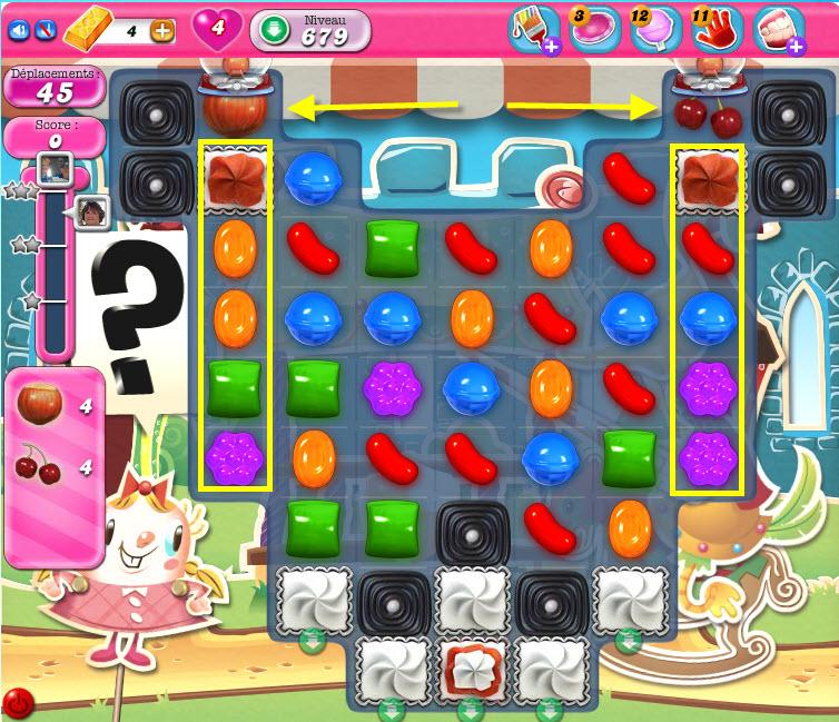 Candy Crush niveau 679 : les ingrédients sont bloqués de chaque côté du tableau