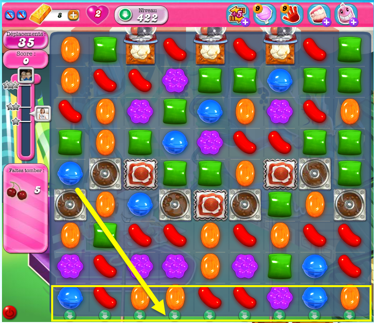 Comment passer le niveau 422 de Candy Crush Saga