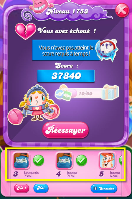 Amis virtuels Candy Crush Saga