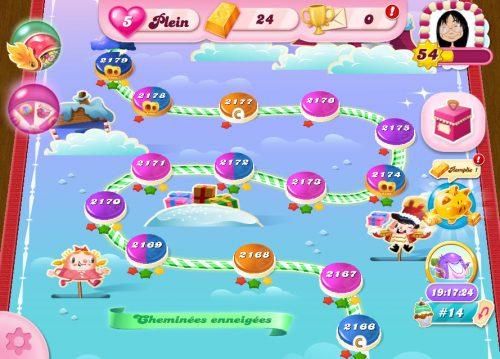 Candy Crush niveau 2179 - Cheminées enneigées