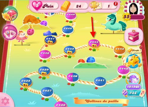 Candy Crush niveau 2444 - Collines de Paille