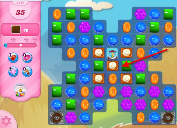 Candy Crush niveau 2444 - Distributeur de bonbons chance