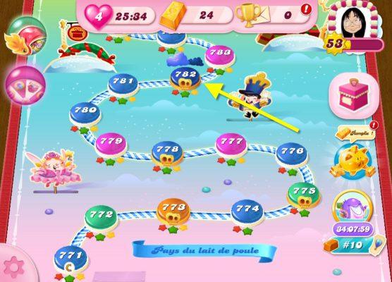 Candy Crush Saga niveau 782 Pays du Lait de Poule