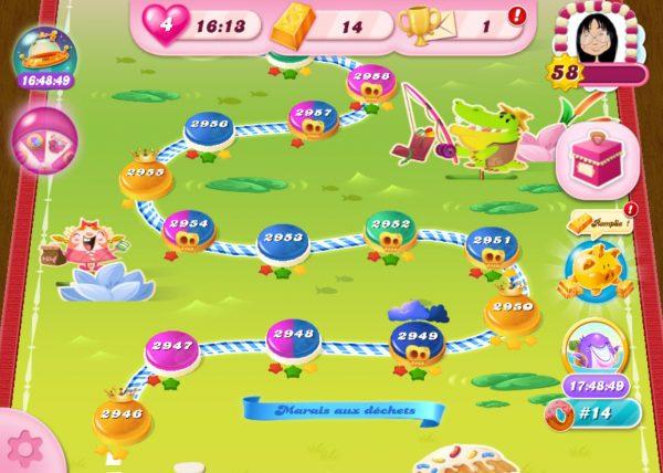 Candy Crush Saga niveau 2958 - Marais aux déchets