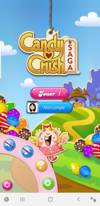 paramètres application Candy crush Saga