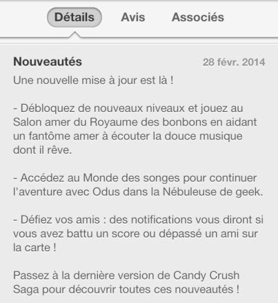 Mise a jour Candy Crush du 280214