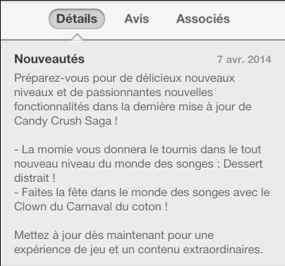 Mise à jour Candy Crush du 7 avril 2014
