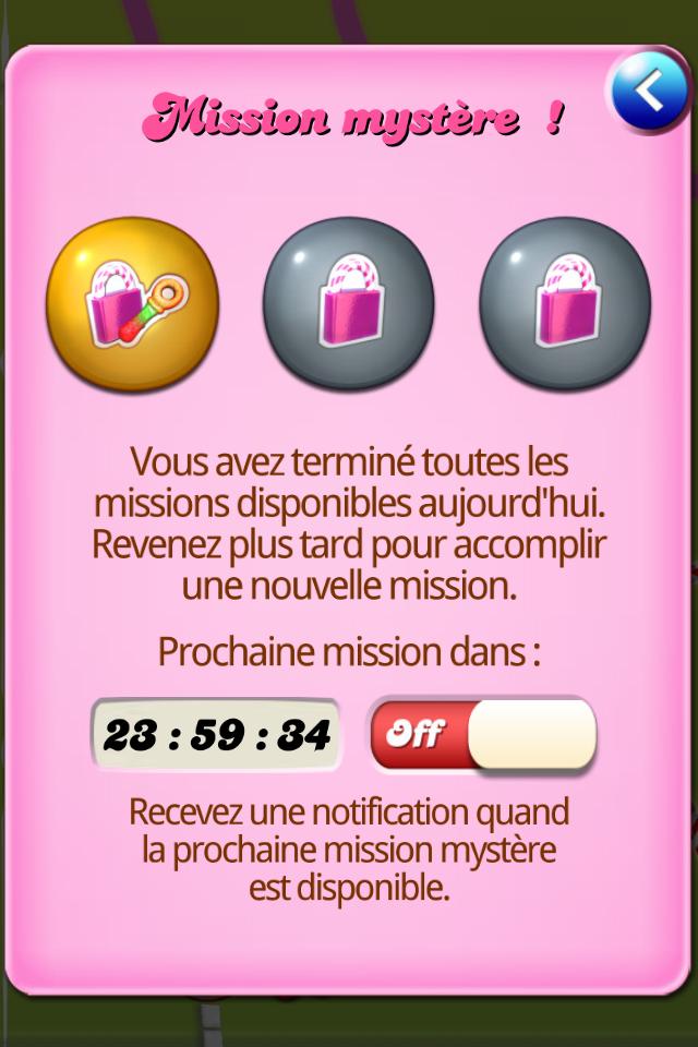 Notification aux missions mystère Candy crush