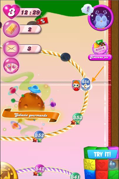 Niveau Candy Crush avec gouttes sucrées