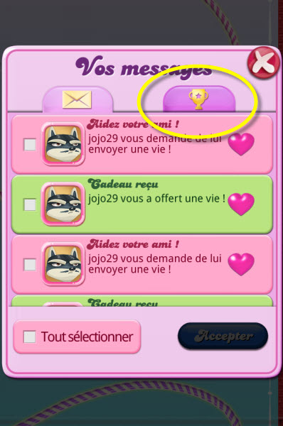 Messagerie Candy Crush