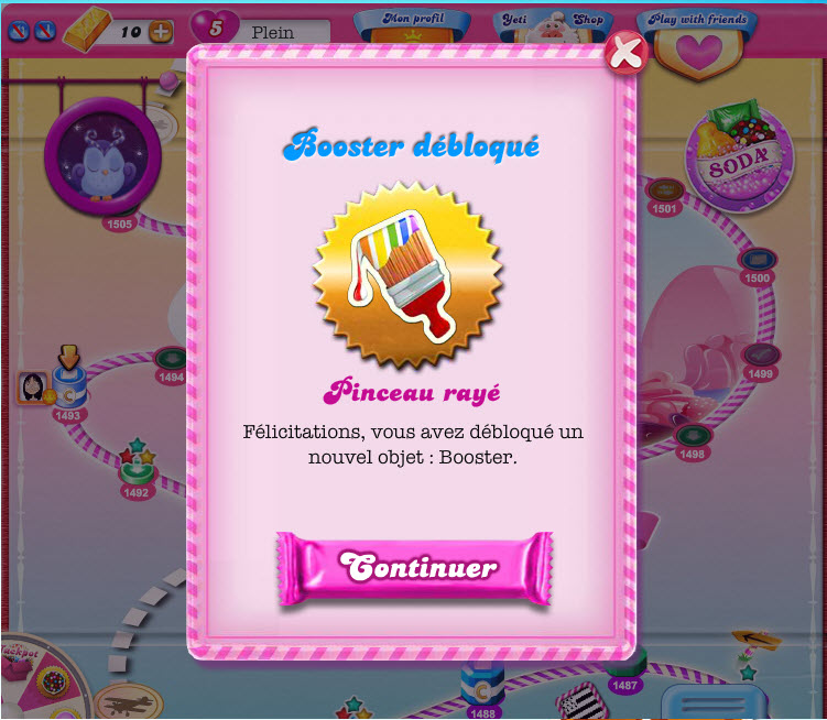 Booster Pinceau rayé dans Candy Crush