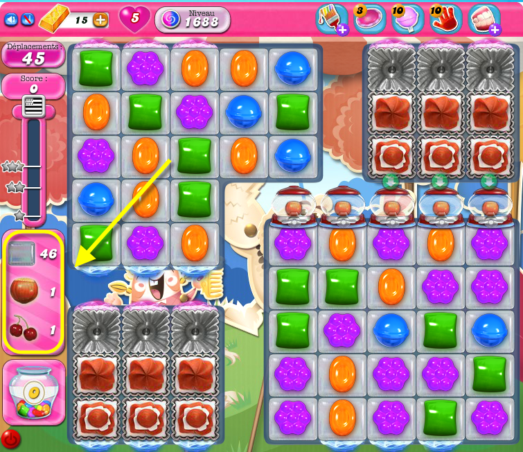 Candy Crush niveau mixte 1688