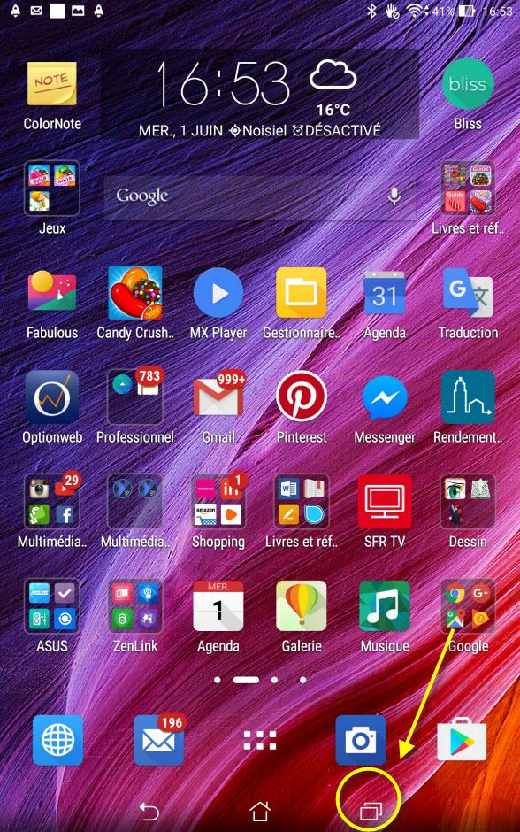 bouton multi fenêtres sur tablette android