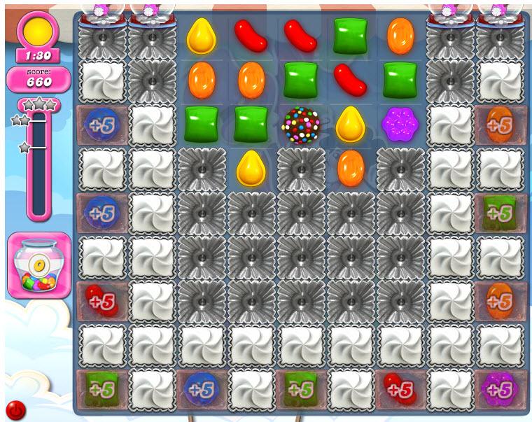 Candy Crush Saga niveau 1810 après que la bombe de couleur soit créée