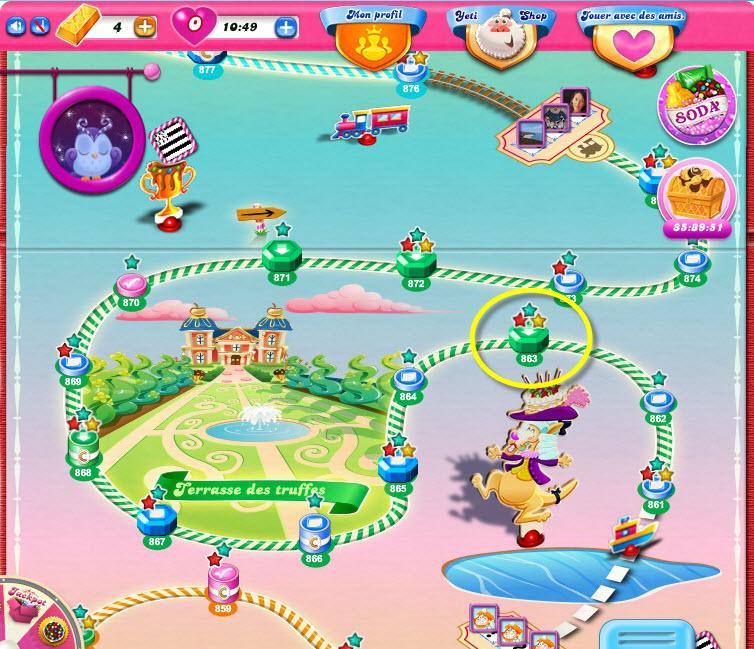 Candy Crush niveau 863 dans Terrasse des Truffes