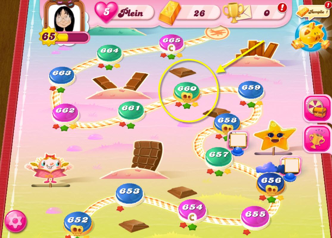 Candy Crush Saga niveau 660 - Chutes Acidulées