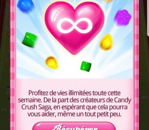 temps de jeu infini sur Candy Crush Saga
