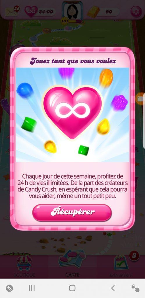 vies illimitées dans candy crush saga confinement