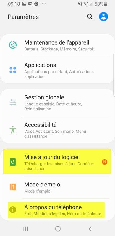 mise à jour logiciel sur android