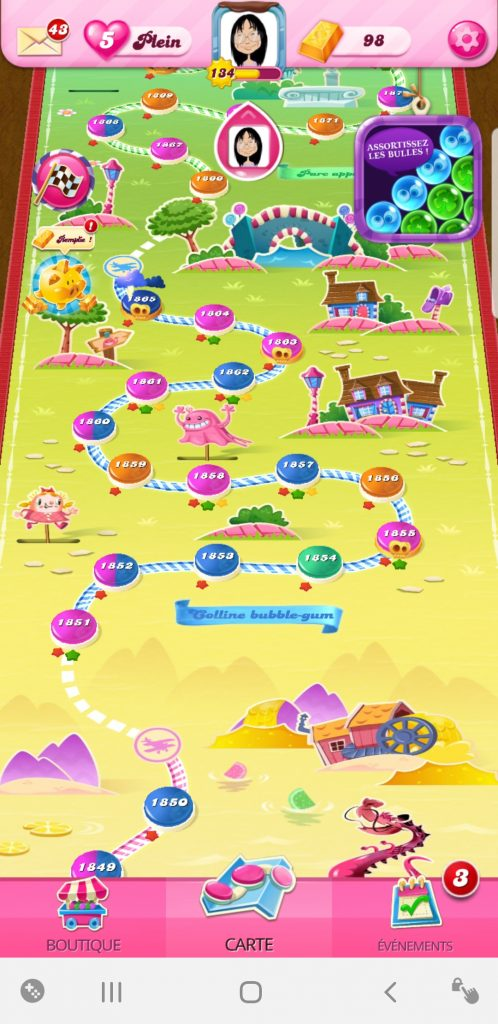 candy crush saga monde colline bubble-gum