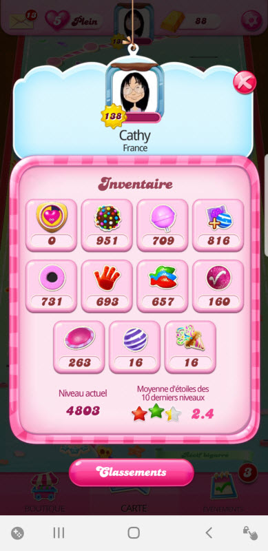 Inventaire boosters Candy Crush Saga