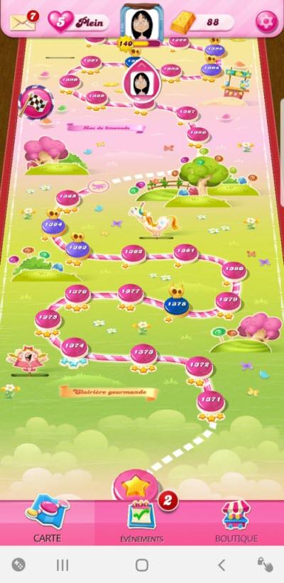 Clairière Gourmande Candy Crush Saga niveau 1374