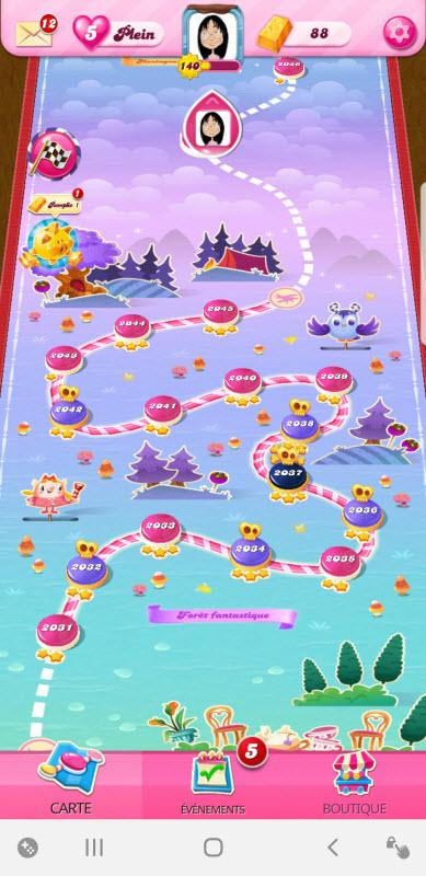 candy crush saga épisode Forêt Fantastique niveau 2045
