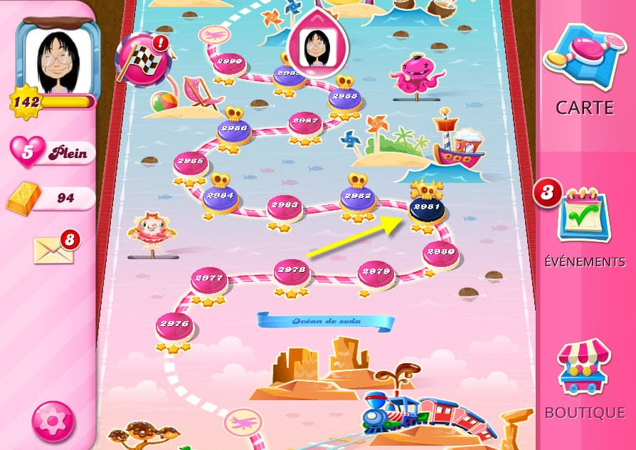 Candy Crush saga 2981 monde Océan de Soda